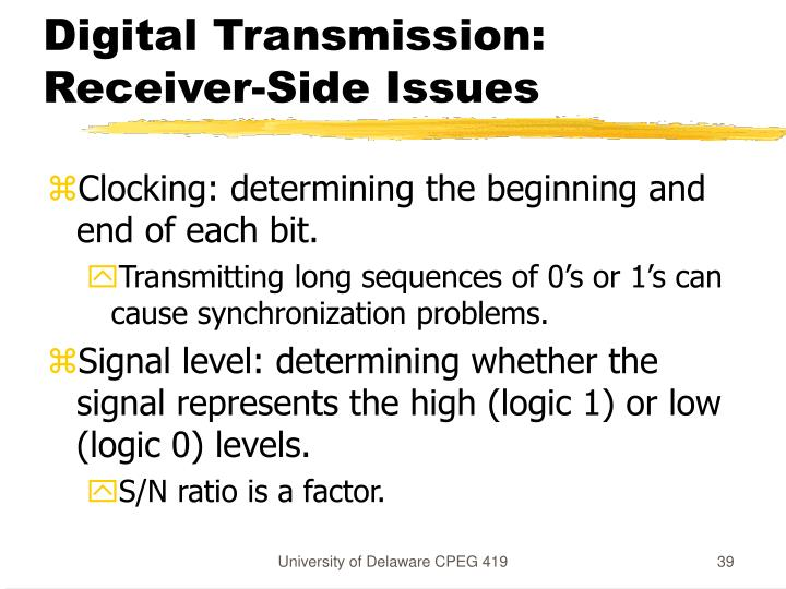 Digital Transmission: Receiver-Side Issues