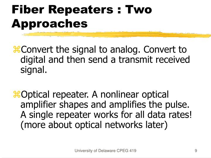 Fiber Repeaters : Two Approaches