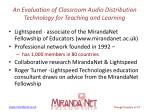 an evaluation of classroom audio distribution technology for teaching and learning1