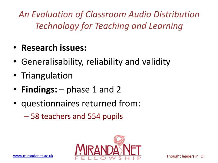 An evaluation of classroom audio distribution technology for teaching and learning2