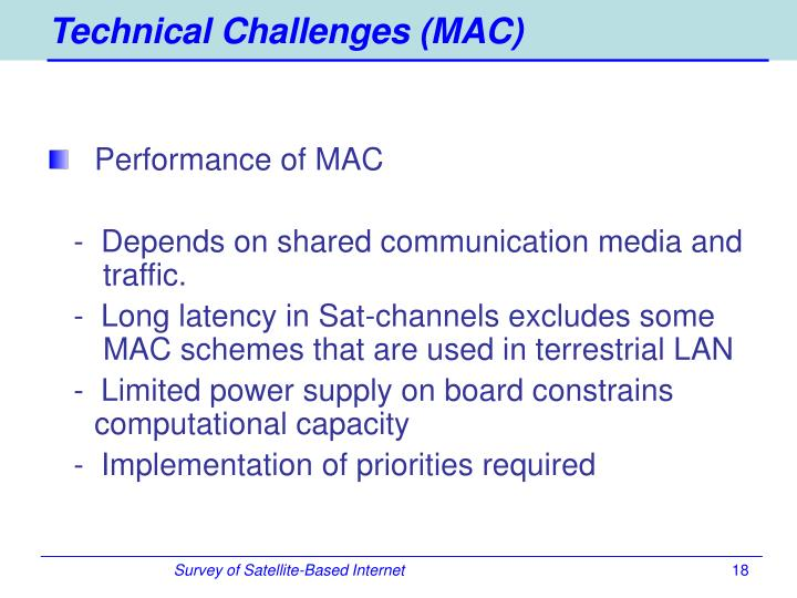 Technical Challenges (MAC)