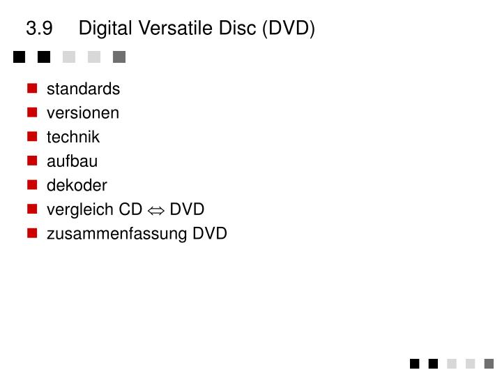 3.9	Digital Versatile Disc (DVD)