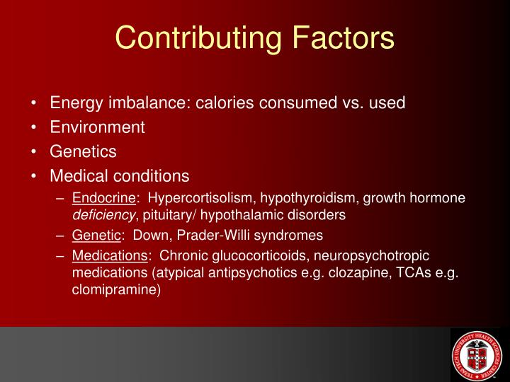 Energy imbalance: calories consumed vs. used