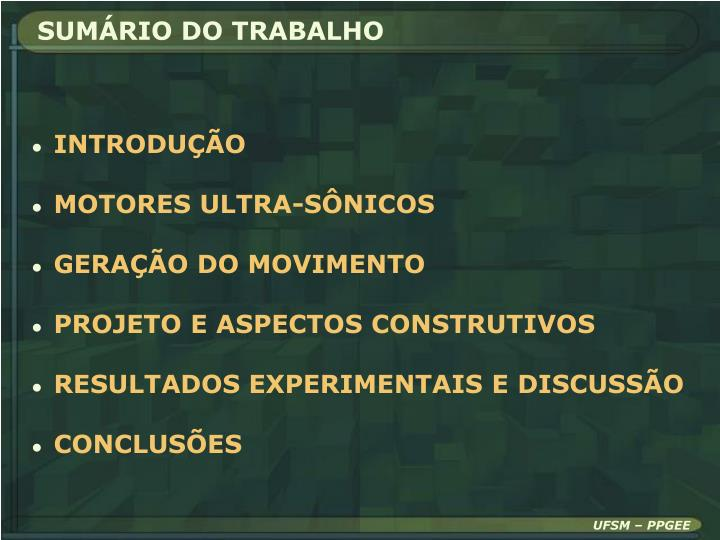 SUMÁRIO DO TRABALHO