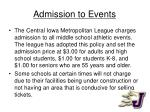 admission to events