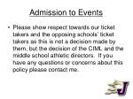admission to events1