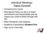 individual meetings topics covered
