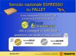 servizio nazionale espresso su pallet