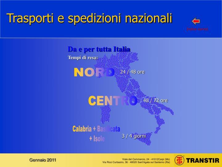 Trasporti e spedizioni nazionali