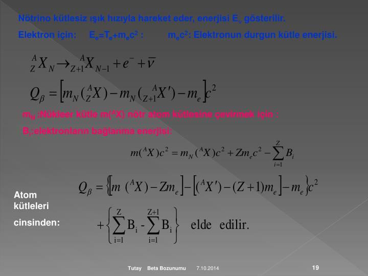 Nötrino kütlesiz ışık hızıyla hareket eder, enerjisi E