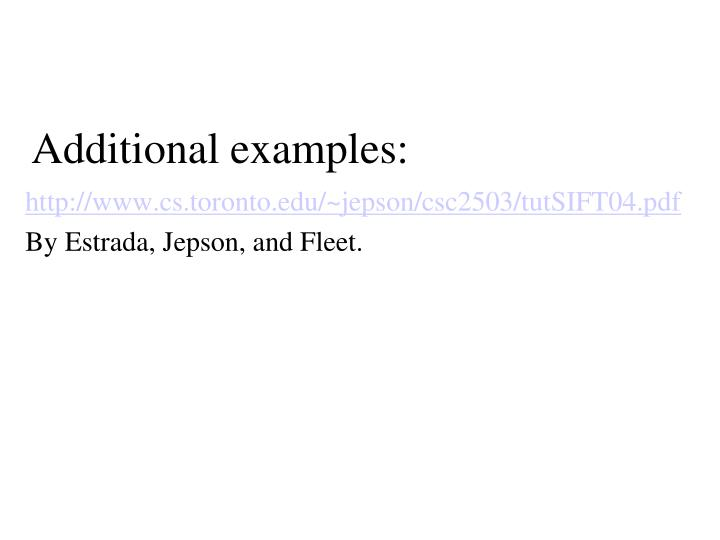 Additional examples: