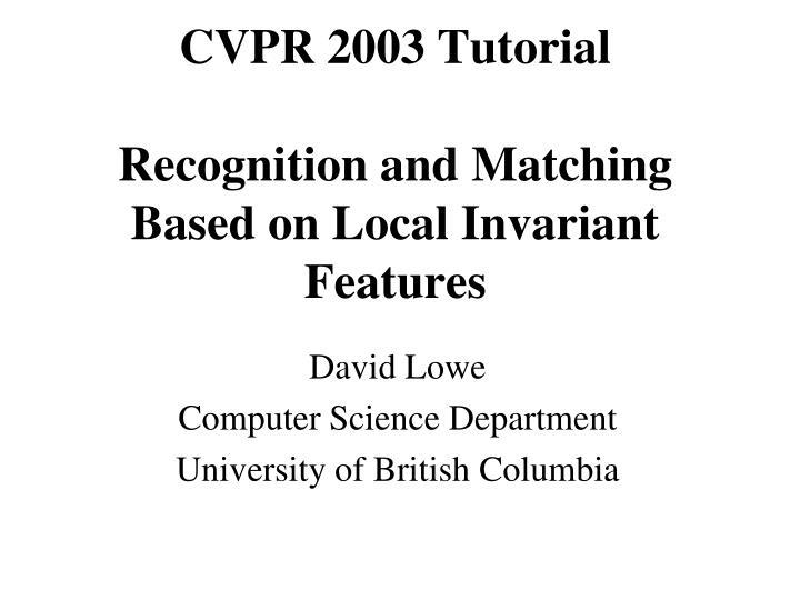 CVPR 2003 Tutorial