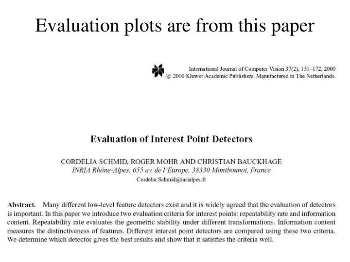Evaluation plots are from this paper