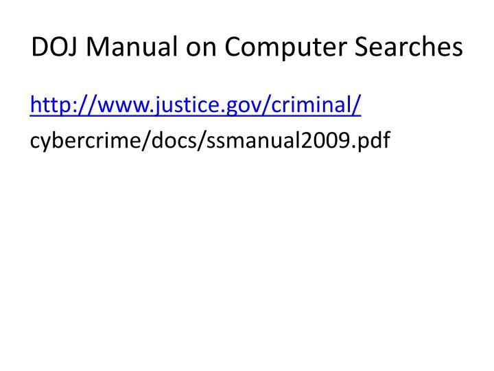 DOJ Manual on Computer Searches