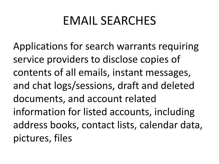 EMAIL SEARCHES