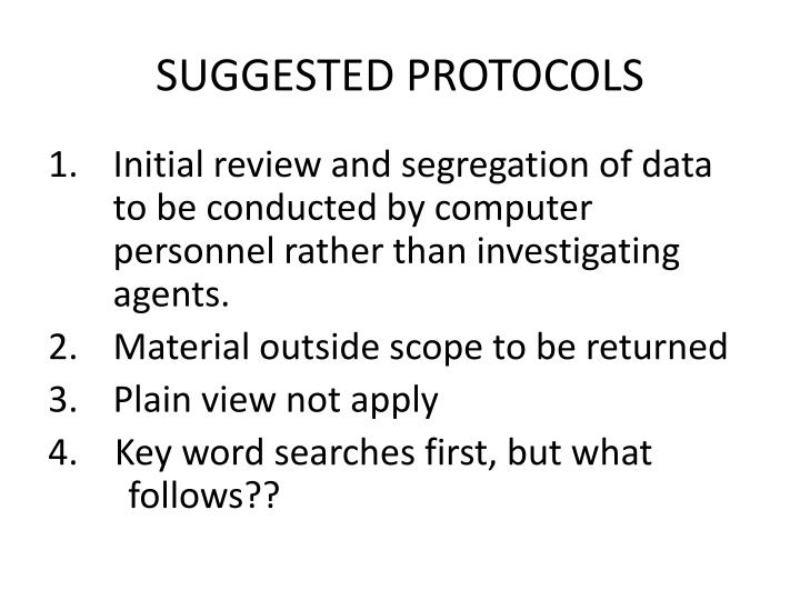 SUGGESTED PROTOCOLS