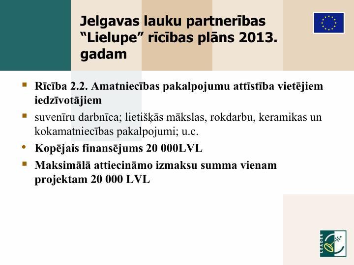 """Jelgavas lauku partnerības """"Lielupe"""" rīcības plāns 2013. gadam"""