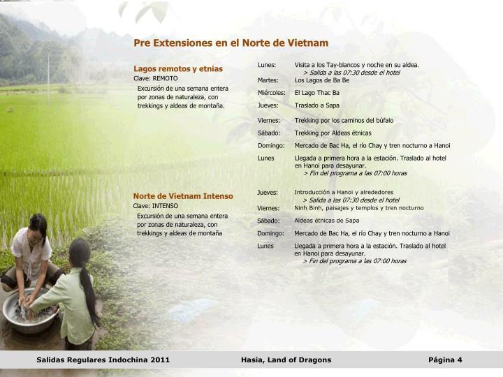 Pre Extensiones en el Norte de Vietnam