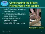 constructing the stove filling frame with adobe