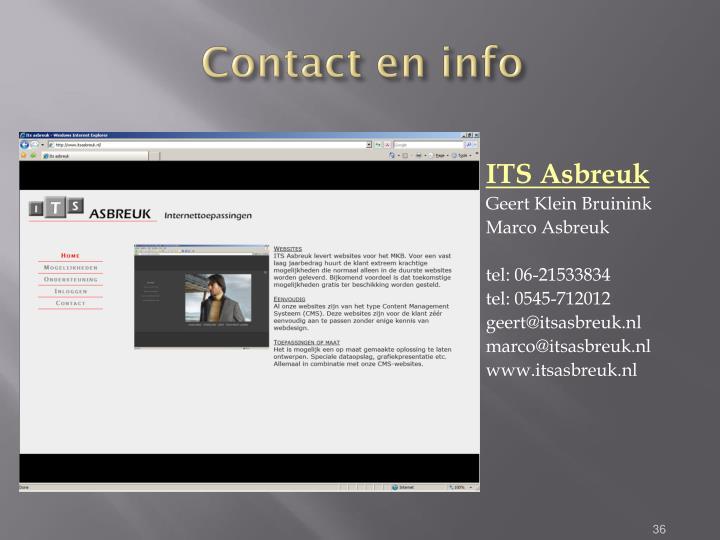 Contact en info