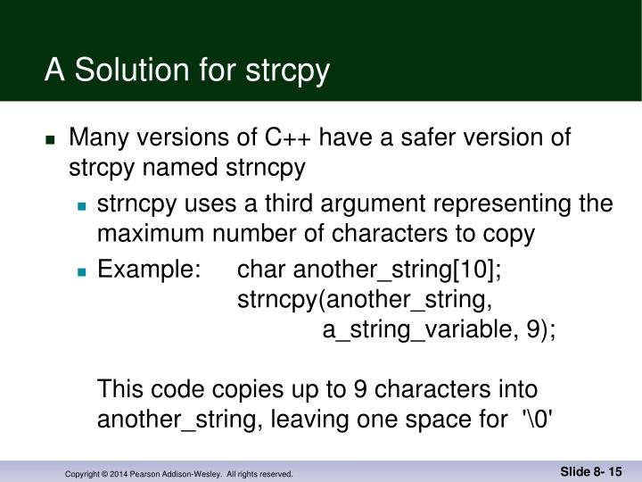 A Solution for strcpy