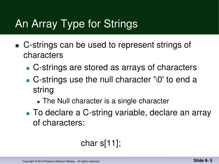 An Array Type for Strings