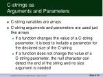 c strings as arguments and parameters