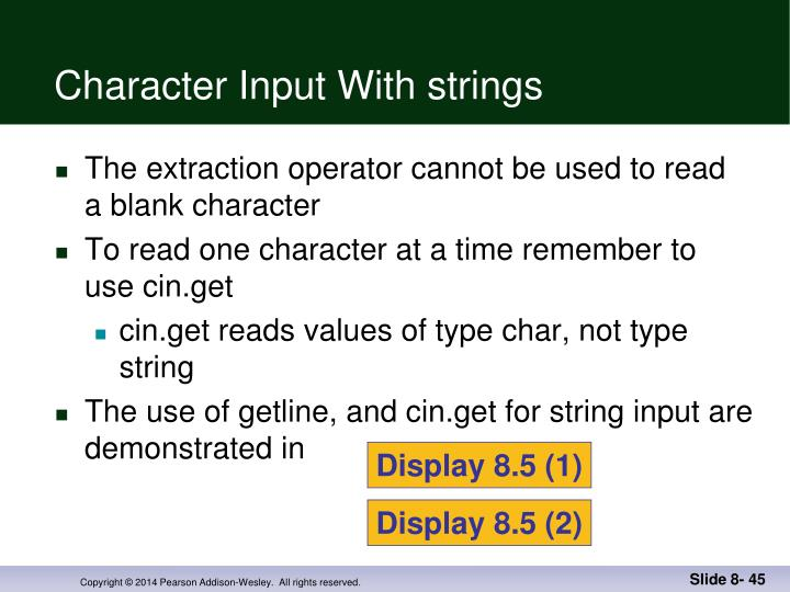 Character Input With strings