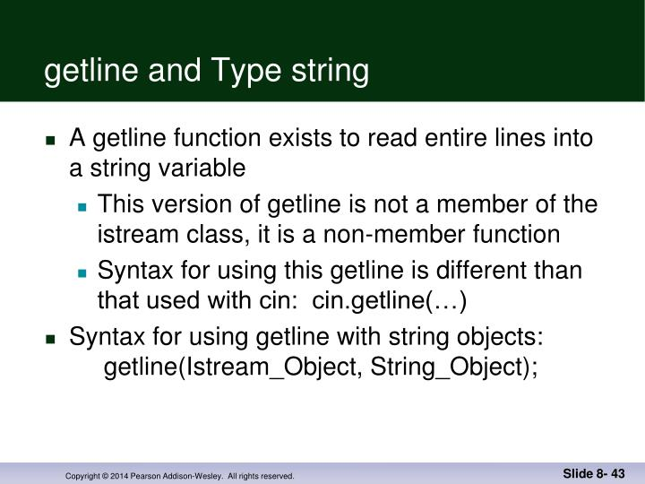 getline and Type string