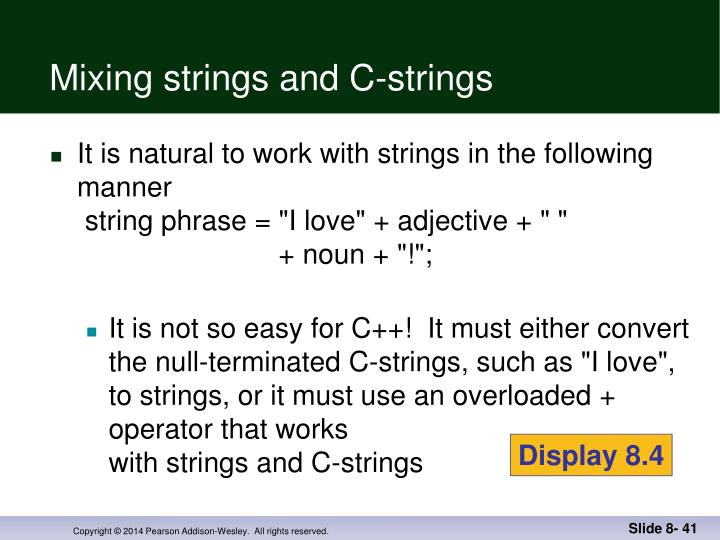 Mixing strings and C-strings