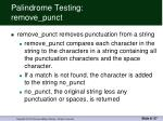 palindrome testing remove punct
