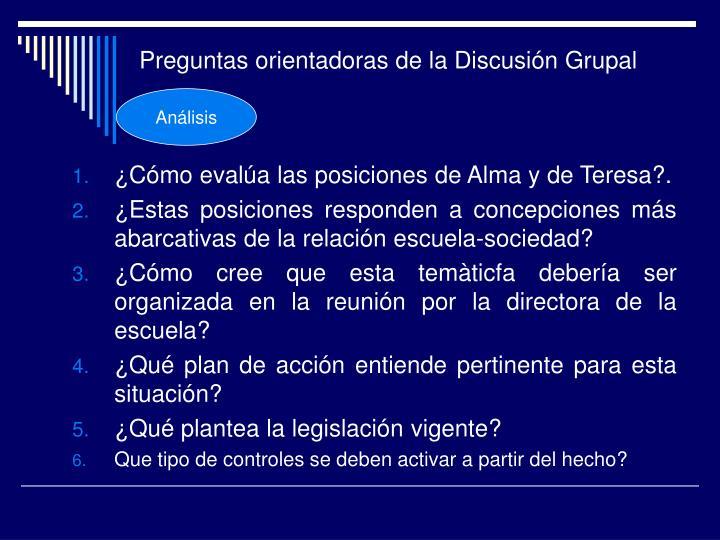 Preguntas orientadoras de la Discusión Grupal
