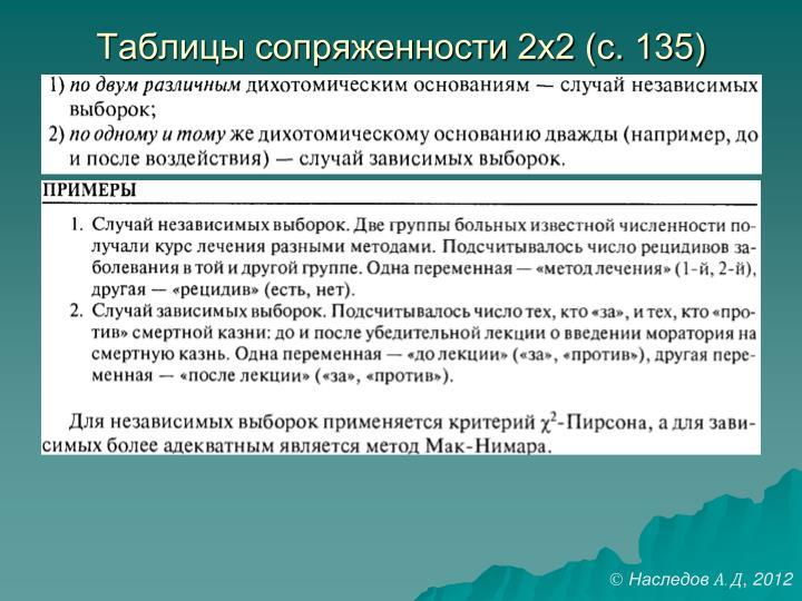 Таблицы сопряженности 2х2 (с. 135)