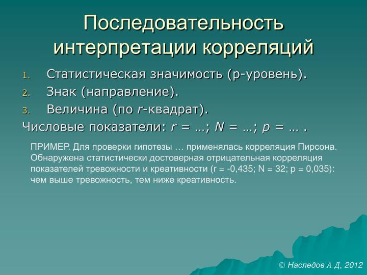 Последовательность интерпретации корреляций