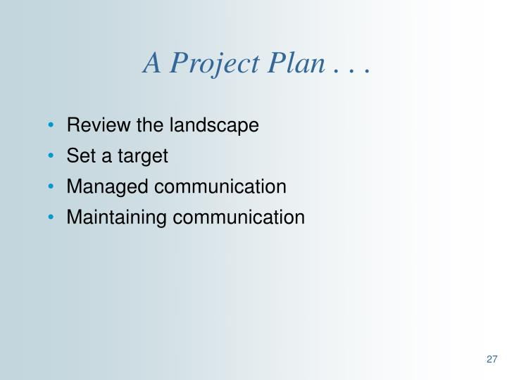 A Project Plan . . .