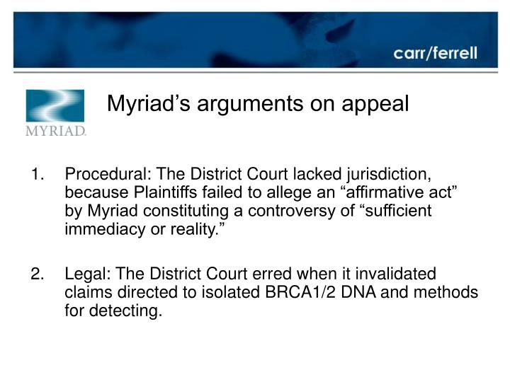 Myriad's arguments on appeal
