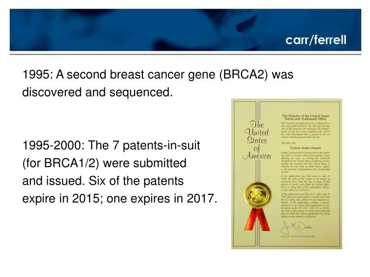 1995: A second breast cancer gene (BRCA2) was