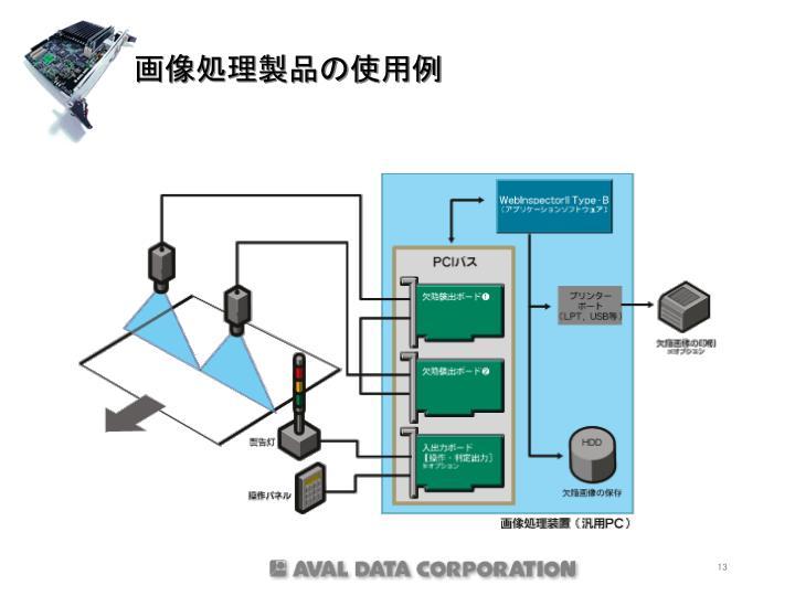 画像処理製品の使用例
