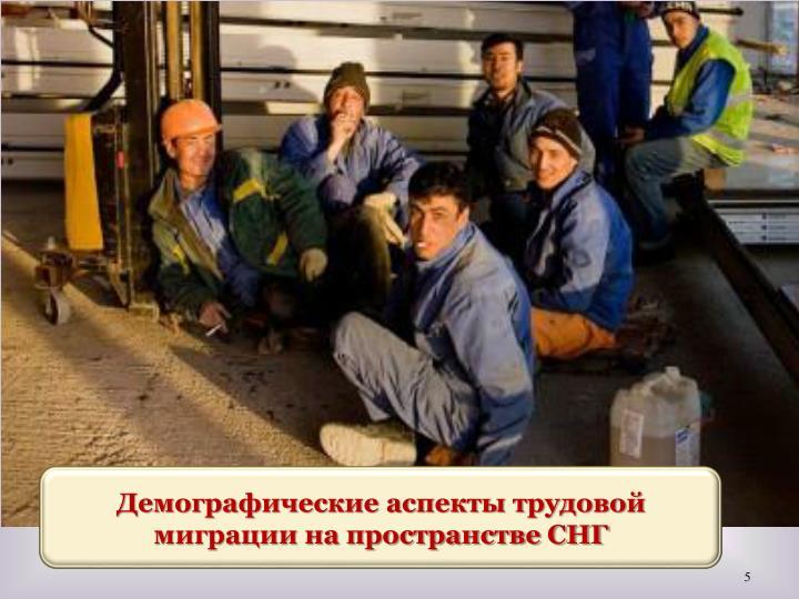 Демографические аспекты трудовой миграции на пространстве СНГ