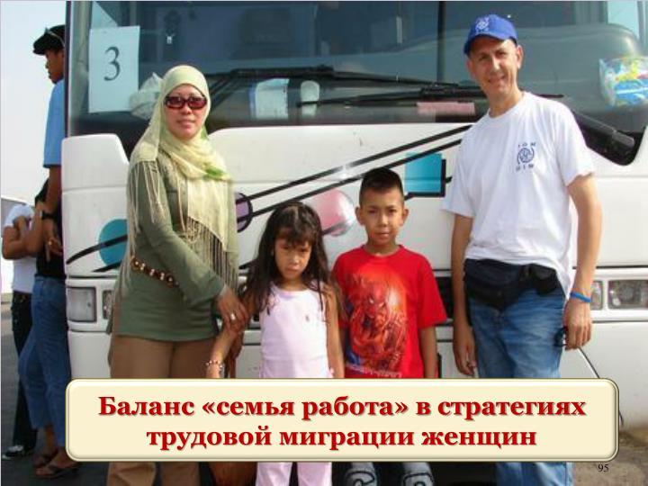 Баланс «семья работа» в стратегиях трудовой миграции женщин