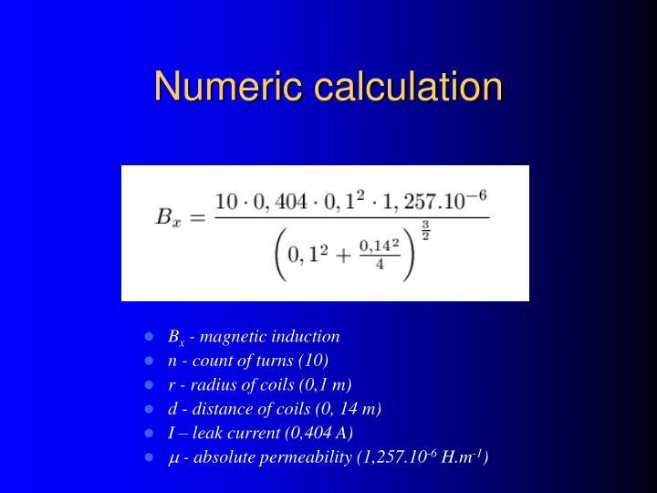 Numeric calculation