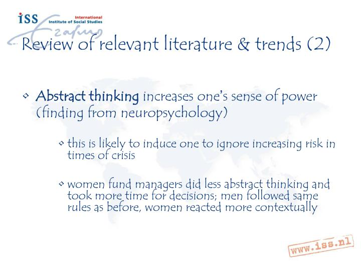 Review of relevant literature & trends (2)