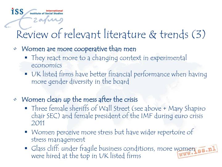 Review of relevant literature & trends (3)