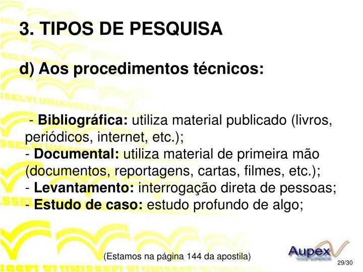 3. TIPOS DE PESQUISA
