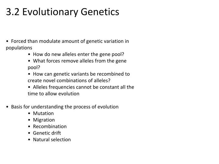 3.2 Evolutionary Genetics
