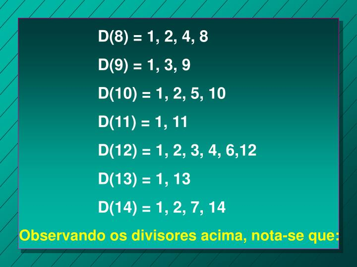 D(8) = 1, 2, 4, 8