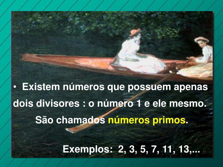 Existem números que possuem apenas dois divisores : o número 1 e ele mesmo.