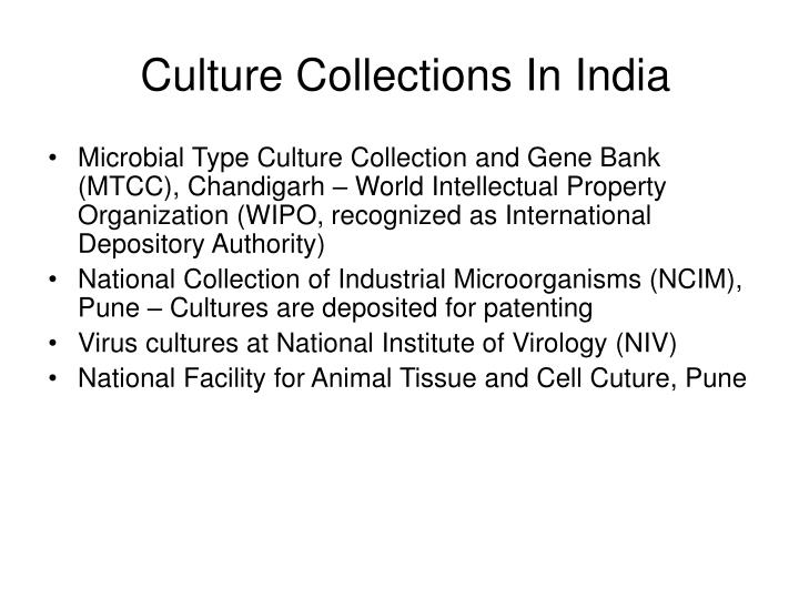 Culture collections in india
