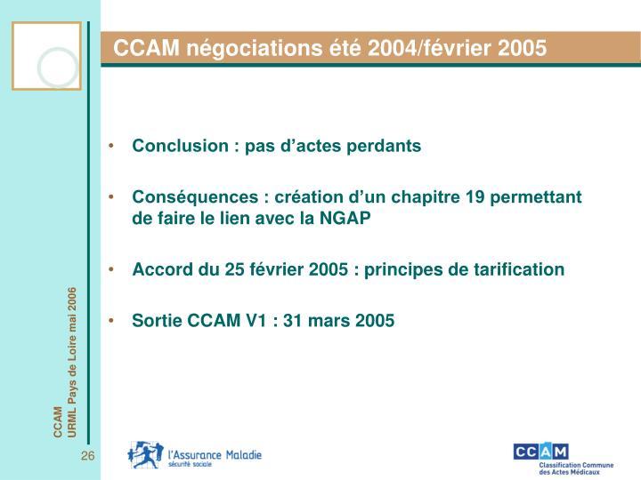 CCAM négociations été 2004/février 2005