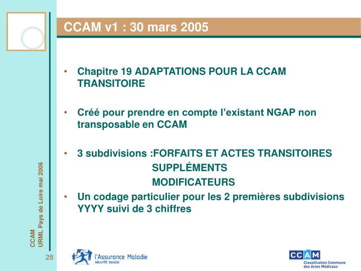 CCAM v1 : 30 mars 2005